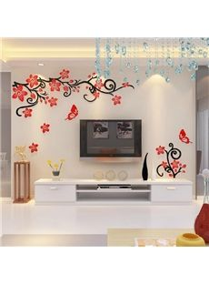 Fabulous Acrylic 3d Flowers And Vines Tv Wall Bedroom 3d Wall Stickers Home Decor