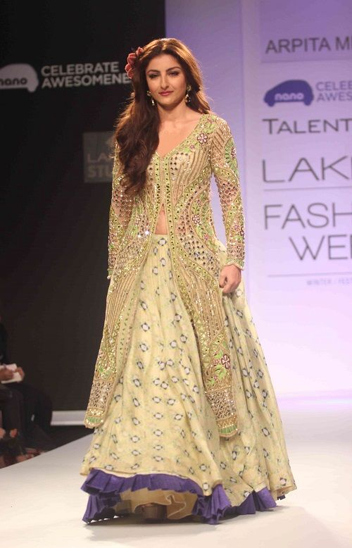 Soha Ali Khan in Anarkali Suit with Lehenga by Arpita Mehta