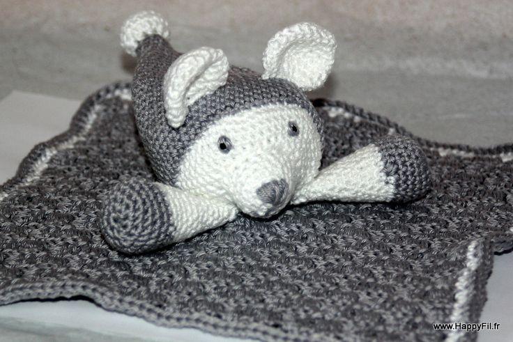 Doudou ourson en coton au crochet : Jeux, peluches, doudous par happyfil