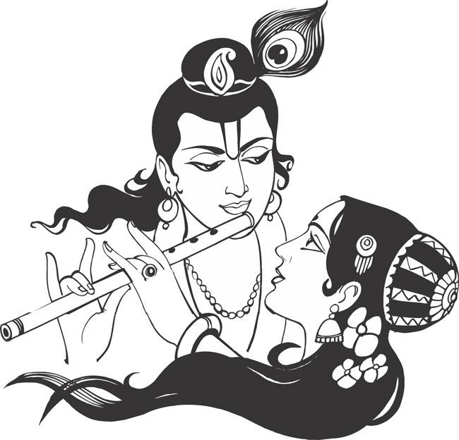 Pin By Sienkoesal On Thumb 2 Krishna Drawing Indian Art Paintings Black And White Art Drawing