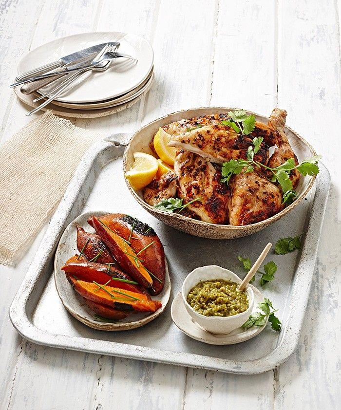 Piri Piri Chicken with Barbecue Sweet Potatoes & Green Olive Jalapeño Salsa | MiNDFOOD