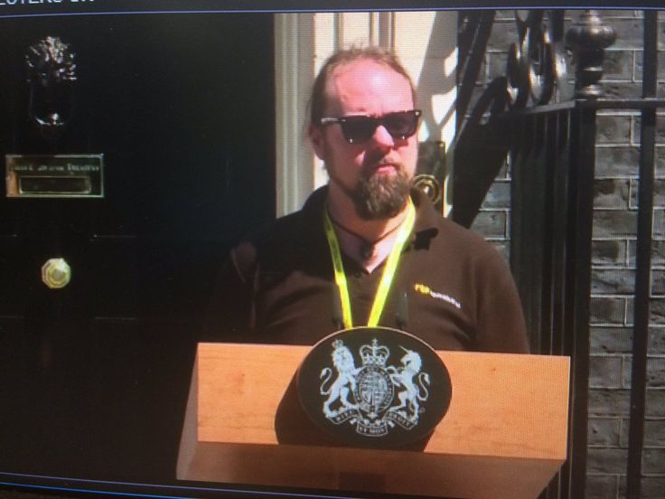 Tara MulhollandVerified account @tara_mulholland  Jun 19  More   Looked up to see this guy soundchecking outside No. 10 and for a second I thought Bill Bailey had become Prime Minister