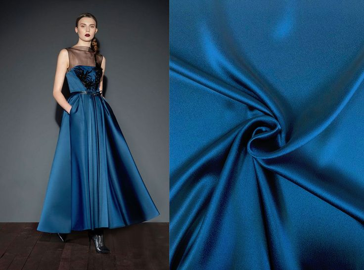 Now at Malagoli Fabrics you can find this gorgeous satin silk fabric!  Get inspired by this look for a beautiful dress.  #Fabrics #SatinSilk #Silk