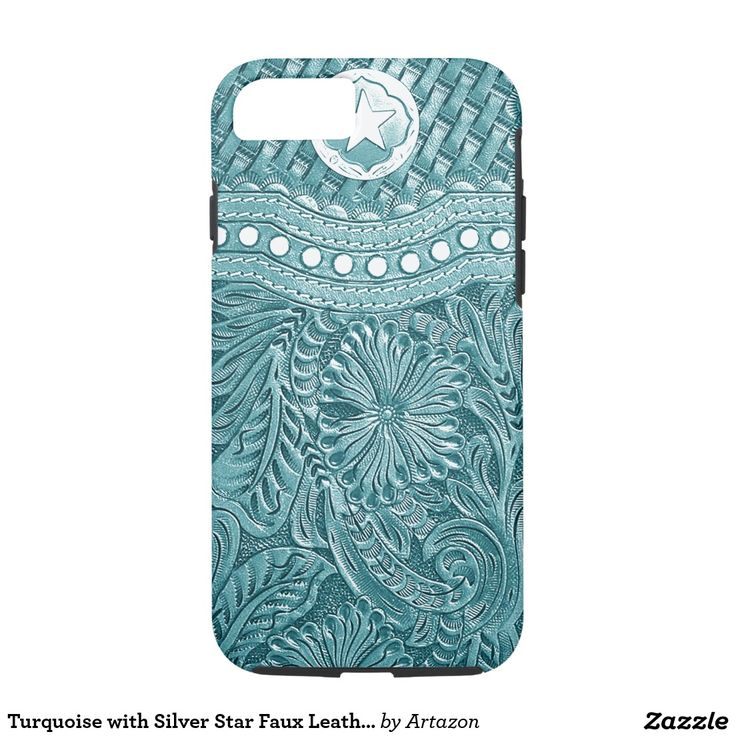 Turquoise with Silver Star Faux Leather Look Print