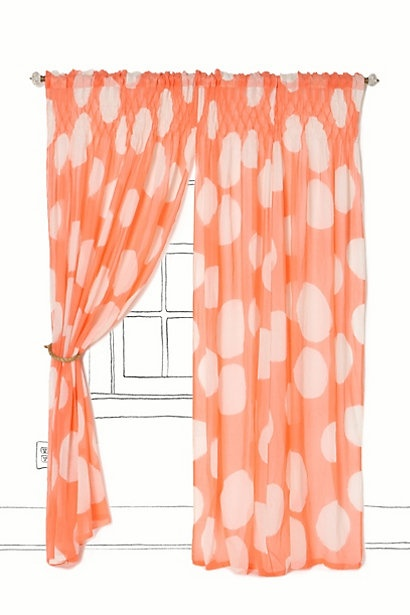 coral polka dot curtain anthropologie (not a fan of coral, but the
