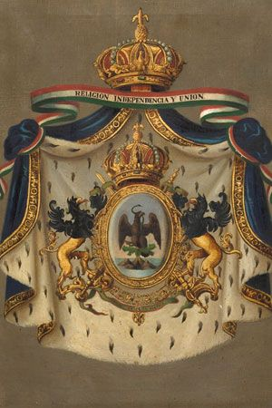 2015 Escudo de Maximiliano de Habsburgo Autor MARCOS ANGEL CARMONA CAZARES Siglo XIX Óleo sobre tela 54 x 41 cm. Colección Museo de Historia Mexicana Ubicación: Bodega de colecciones www.3museos.com