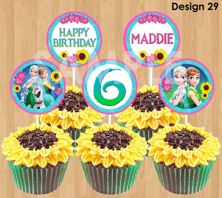 Frozen Fever Cupcake Toppers, Printable Frozen Fever Cupcake Toppers, Frozen Fever Birthday Party Summer, 2 inch Circle Favor Tags Olaf DIY by KidsPartyPrintables on Etsy https://www.etsy.com/listing/233753841/frozen-fever-cupcake-toppers-printable