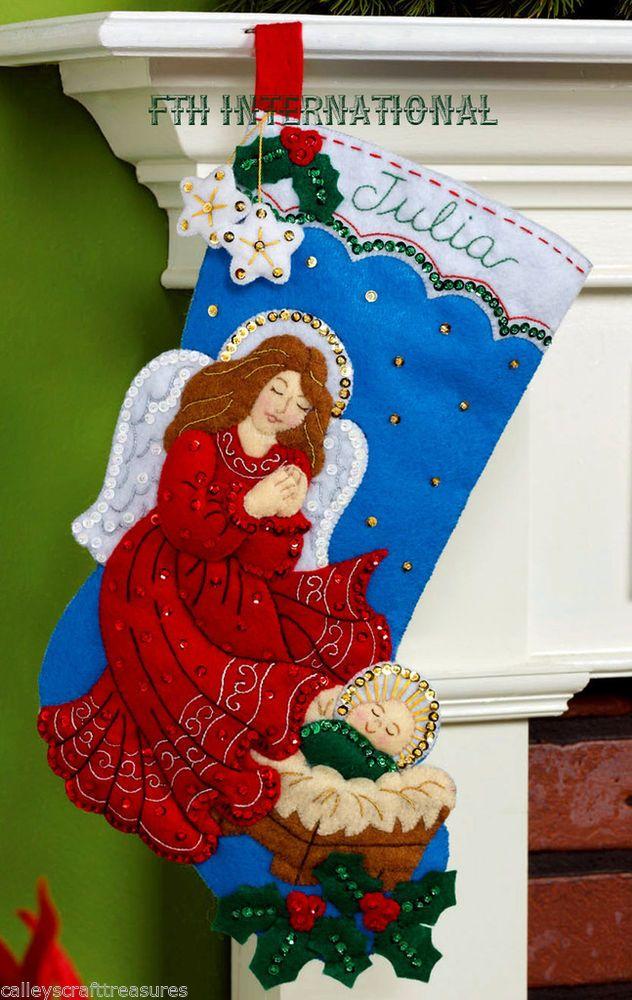 "Bucilla Guardian Angel ~ 16"" Felt Christmas Stocking Kit #86483 Baby Jesus 2014"
