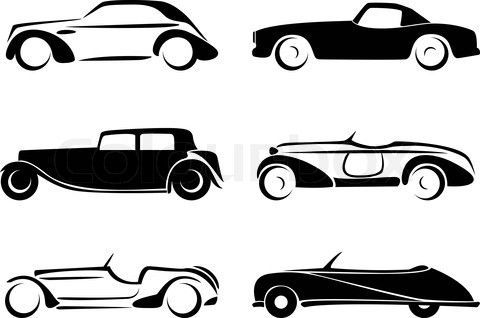 Stock vector of 'Old cars silhouettes set vector'