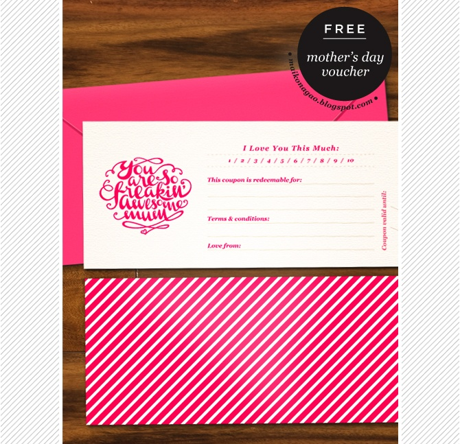 Freebie: Mothers Day Printable Gift Voucher By Maiko Nagao  Printable Vouchers