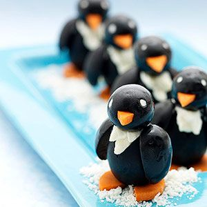 Olives contain healthy fats and antioxidants. Turn them into Arctic animals, and they'll parade into your kid's mouth.