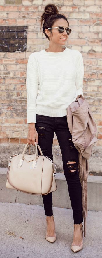 Christine Andrew + simplistic + chic style here + white cable knit sweater + distressed black jeans + ideal for everyday wear + achievable and adaptable. Jeans/Sweater: A.G Jeans.