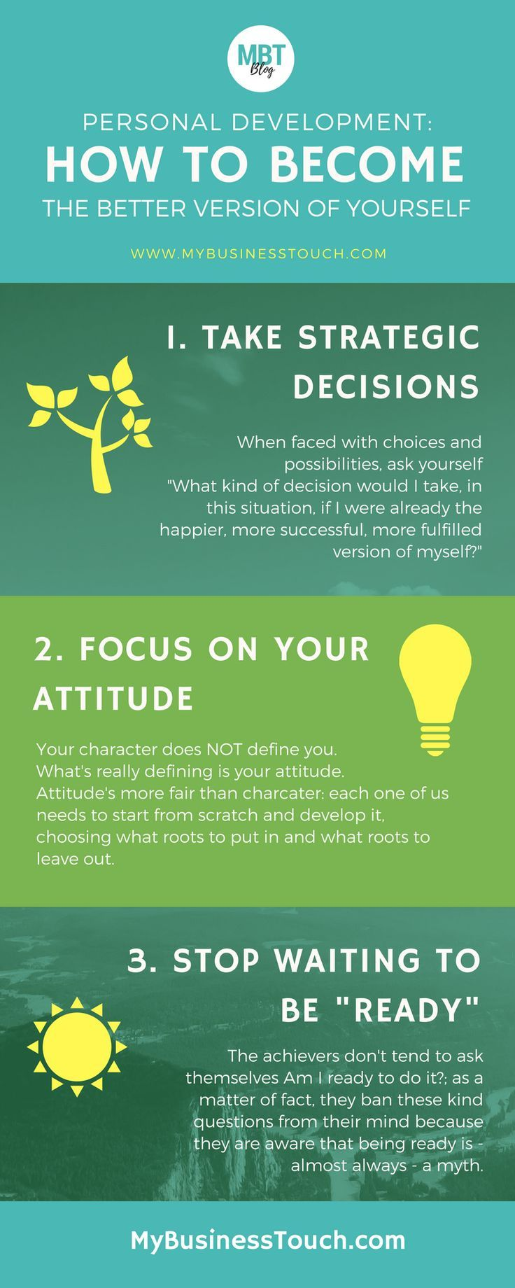 Infographic on one of the most successful and proven personal development strategy: how to become the better version of yourself in three powerful steps! To get access to extra tips on personal development and professional development you can read the full article on the blog. See you there!