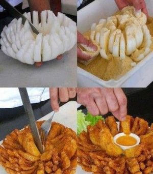OUtback Steakhouse Bloomin' Onion Recipe with Sauces - can be baked 350 for 25-30 min (until golden) by dagburger