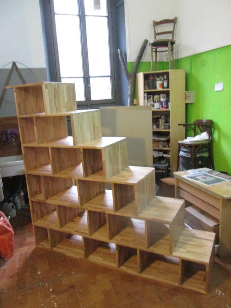 Scala libreria in faggio massello