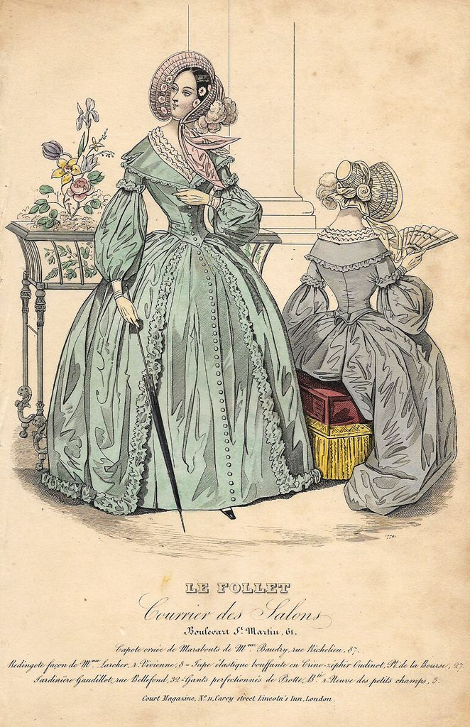 VINTAGE FASHION PRINT DESCRIPTION This hand colored lithograph print is from…