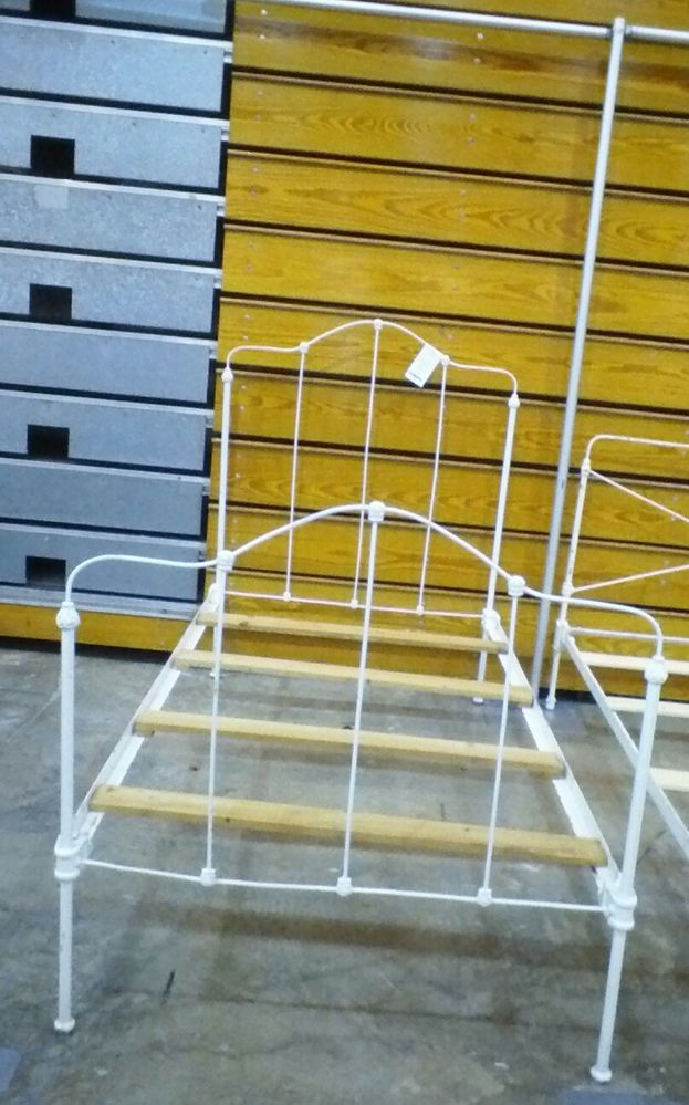 Antique Wrought Iron Bed Twin White High Back Victorian w Rails #Victorian