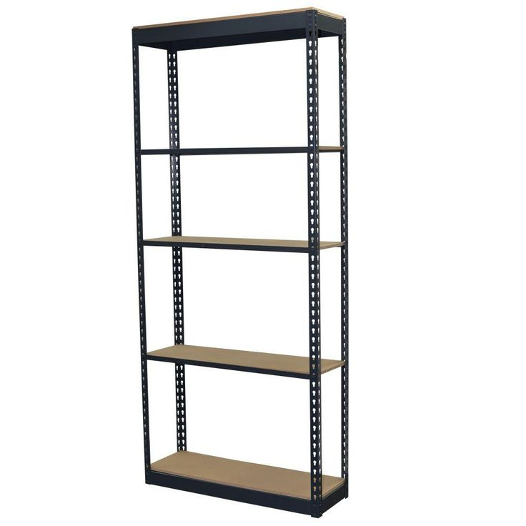 96 in. H x 36 in. W x 12 in. D 5-Shelf Steel Boltless Shelving Unit with Low Profile Shelves and Particle Board Decking, Powder Coated Steel Color Gray