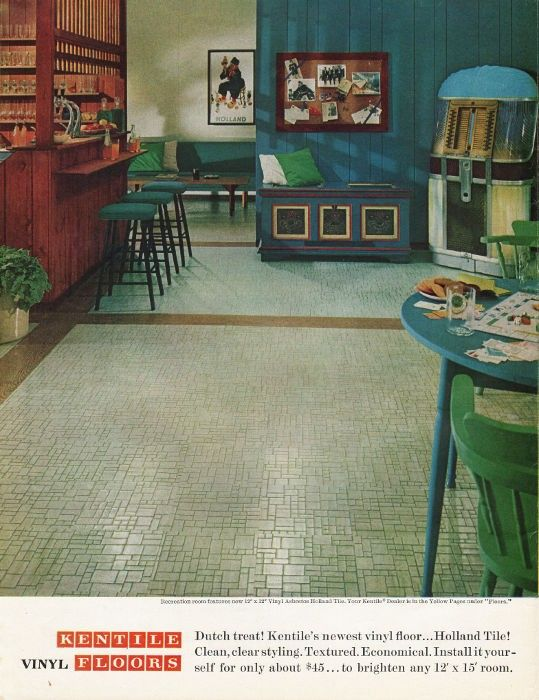 "1965 KENTILE VINYL FLOORS vintage magazine advertisement ""Dutch treat"" ~ Dutch treat!  Kentile's newest vinyl floor ... Holland Tile! ~"