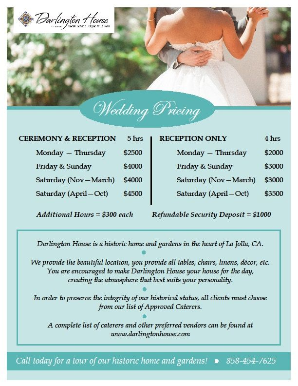 San Diego Venue Price List Darlington House Wedding Venue Prices San Diego Wedding Venues Wedding Venues