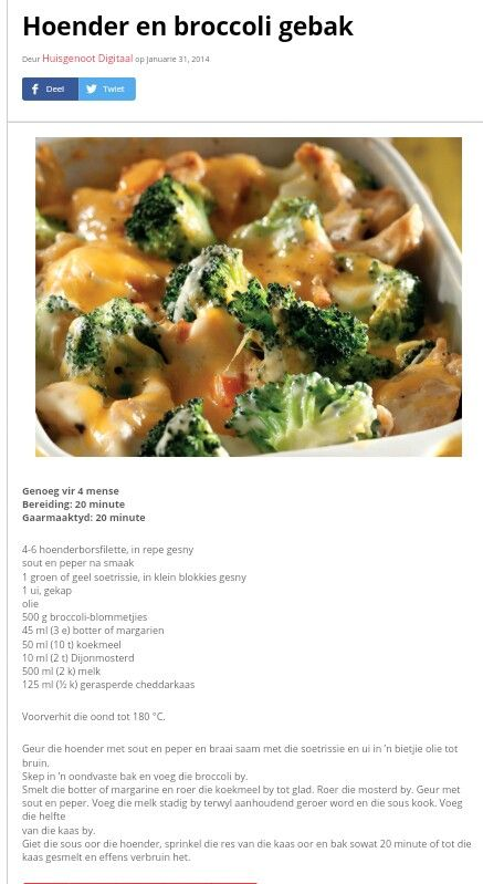 Hoender & Broccoli Gebak