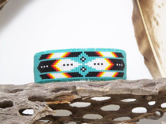 Native American Beaded Cherokee Turquoise Cuff Bracelet