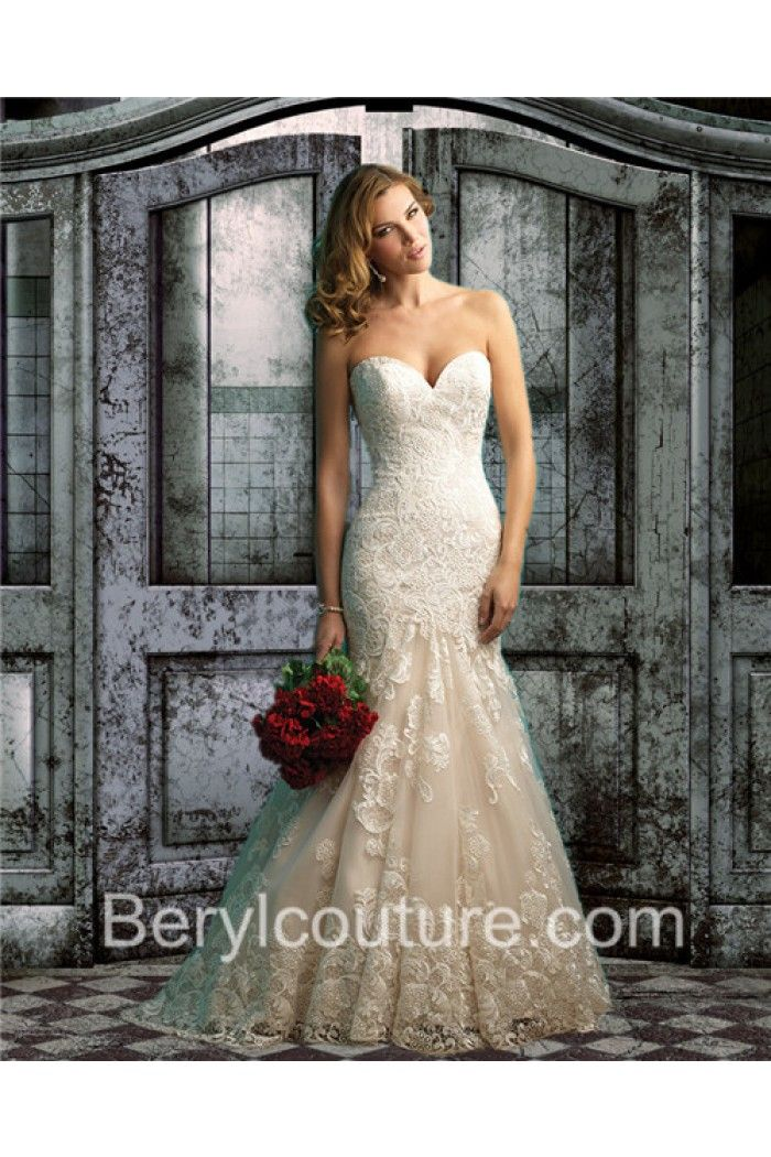Mermaid Sweetheart Low V Back Champagne Color Vintage Lace Wedding Dress With Buttons