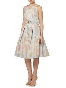 Jacquard fit and flare midi dress