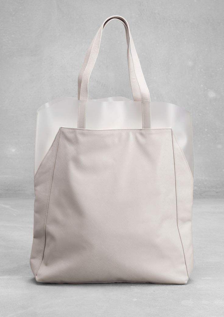 Embossed PU Shopper | Light Grey | & Other Stories