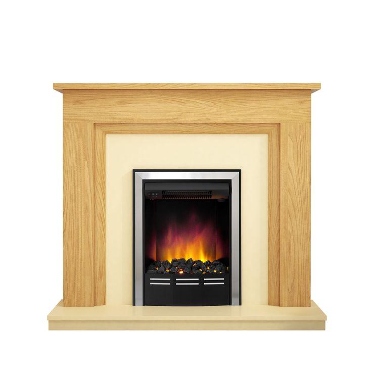 Be Modern Dallington Natural Oak & Ivory LED Inset Electric Fire Suite…