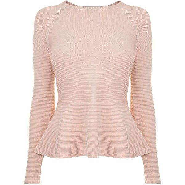 Boss Florana Peplum Knit ($125) ❤ liked on Polyvore featuring tops, pink peplum top, pink top, boss hugo boss, peplum tops and knit top