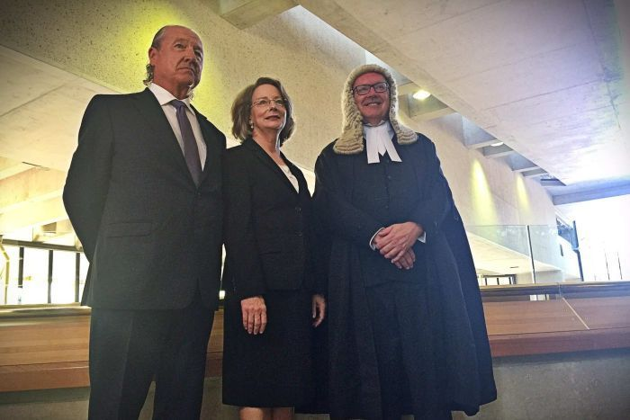 Australia's first female Chief Justice of the High Court, Susan Kiefel, has been sworn in at a ceremony in Canberra, using her speech to reflect on how historic the occasion is for women in law.  High Court Chief Justice Susan Kiefel with her partner and George Brandis