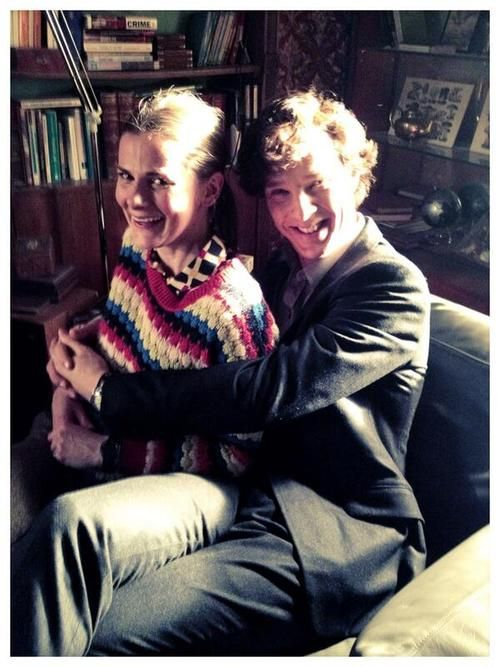 Louise Brealey and Benedict Cumberbatch sharing Sherlock's chair on the set <---- Match made in heaven!!