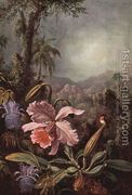 Orchids Passion Flowers And Hummingbird  by Martin Johnson Heade