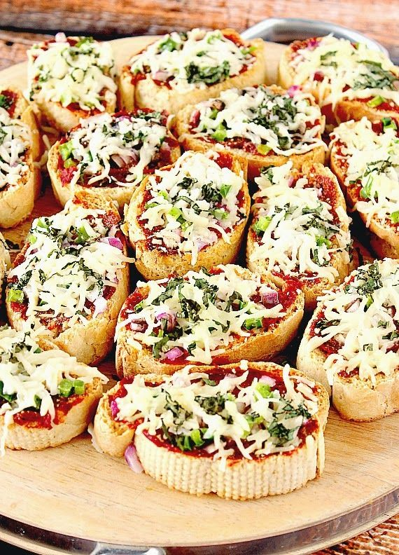 French bread appetizer pizzas. Such a simple idea and completely customizable. This is really all about inspiration. Make your own French bread (recipe) or use store bought. Baguette size loaves would make great appetizer bites, larger loaves would be great for lunch- or dinner-sized portions. The sky's the limit when it comes to toppings. And use tomato sauce or a favorite marinara or pizza sauce.