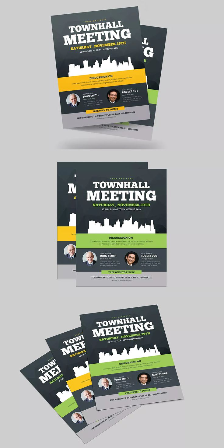 Town Hall Meeting Flyer Template AI, PSD