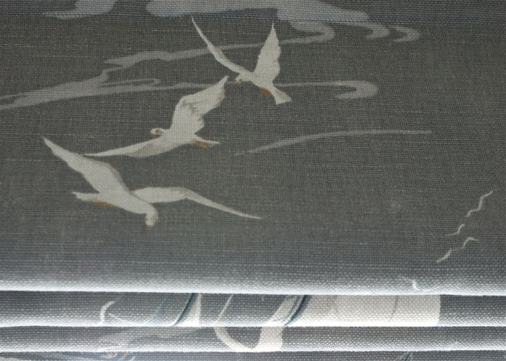 Lined and interlined Roman blind in seagull and yacht fabric, Country  Coastal Interiors Ltd