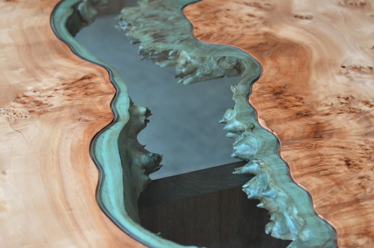 "a river runs through this beautiful table special cottonwood top black walnut base hand-cut river glass 37""x108"" *one-of-a-kind"