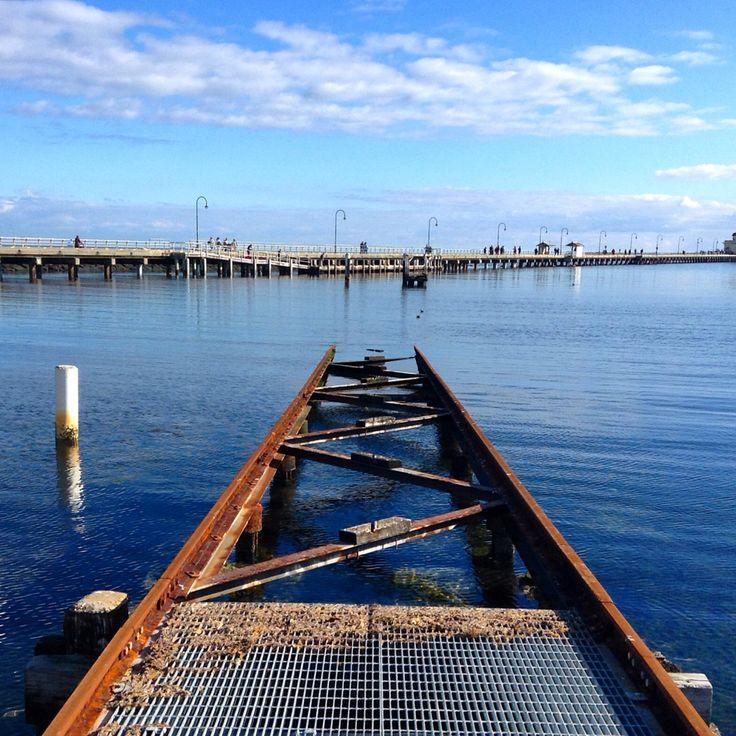 Walking the rails at St Kilda Melbourne, Australia