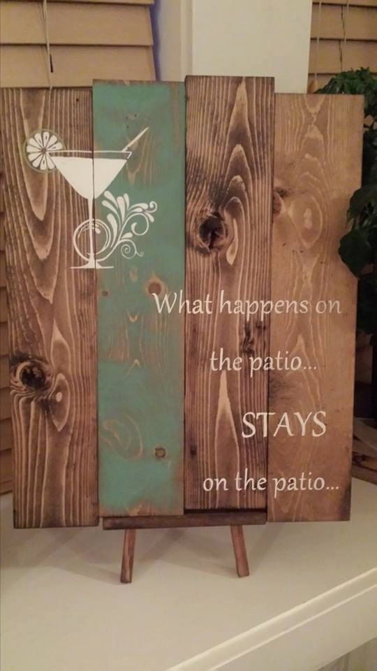 Reclaimed wood wall art - What happens on the patio - Reclaimed pallet wood art - Pallet wood sign - Patio sign - Deck sign -