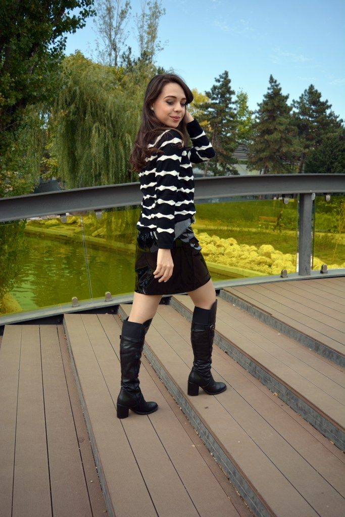 Black and White Outfit Vinyl Skirt Striped Sweater Knee Boots