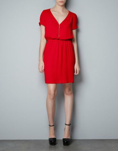 ZARA DRESS WITH ZIP NECKLINE AND ELASTICATED WAIST SIZE XS
