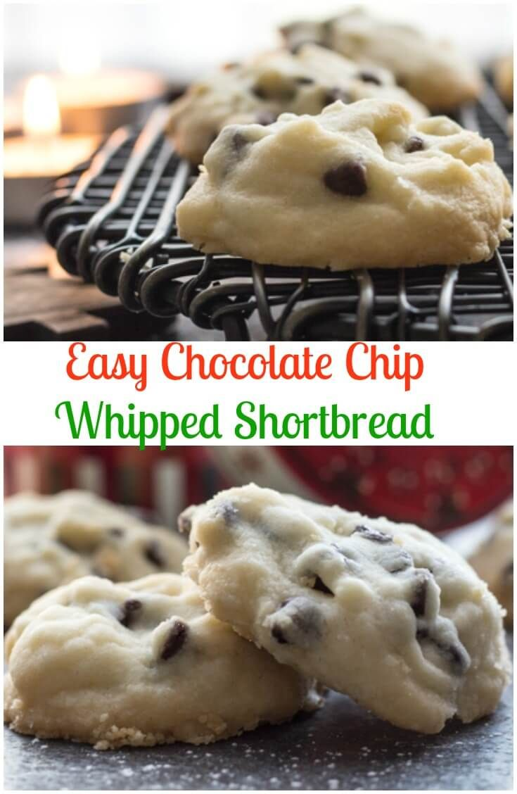 Christmas Time Melt in Your Mouth Easy Chocolate Chip Whipped Shortbread, the best made with corn starch Shortbread Holiday Cookie Recipe.  via @https://it.pinterest.com/Italianinkitchn/