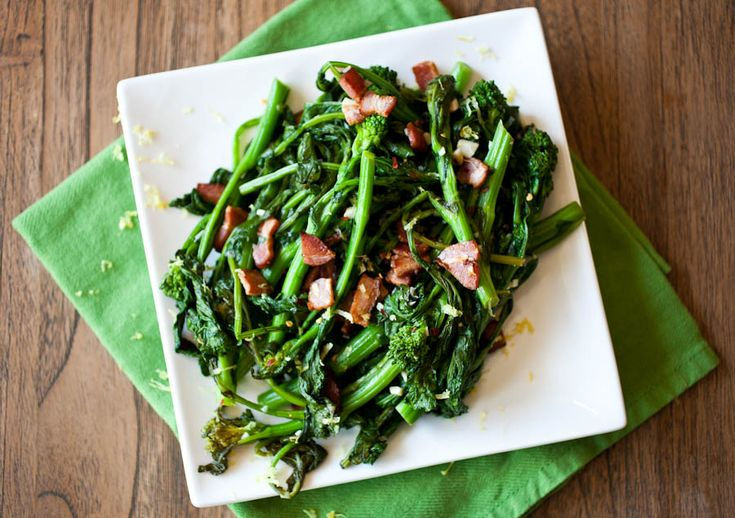 Garlic & Lemon Broccoli Rabe with Bacon Lardons - The Crepes of Wrath