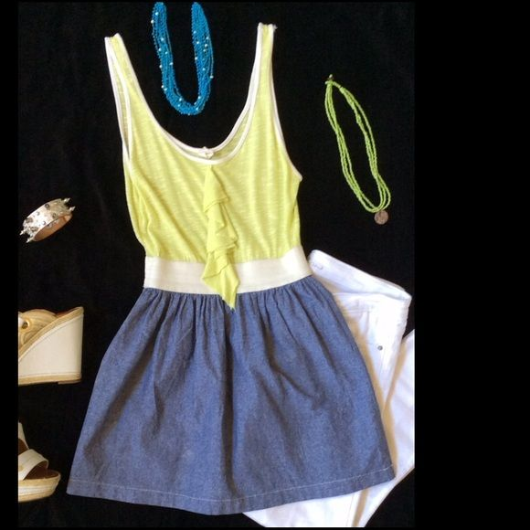 💥FLASH SALE💥Super Chic Tank Style Boutique Top Super cute and chic top purchased at a local boutique. Fun lime colored top, white banding around waist and light denim fabric at bottom. This top looks very trendy with skinny jeans! Tops Tank Tops