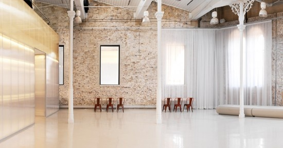 Sydney Industrial Venues  StudioTwenty4  studiotwenty4 550x288 Sydney Industrial Wedding Venues  Located next to the Sydney Theatre in Walsh Bay, this photography studio is on the luxe side of industrial with white floors, white beams and elegant, gauzy white curtains.  The space can hold 180 standing or 100 seated. The venue is available through external caterers including Simmer Catering.