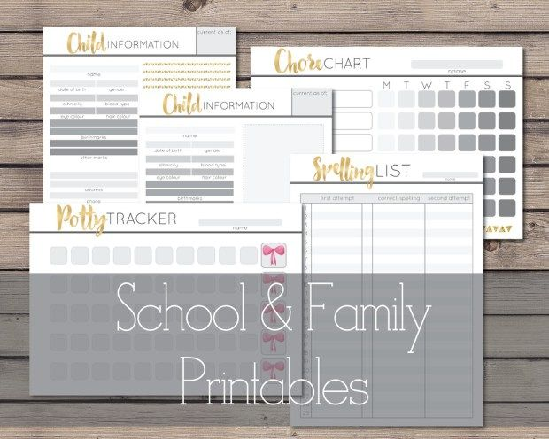 School & Family Printables from Cathartic Malarkey