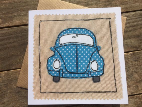 Set of 4 greeting cards, generic all occasion cards, free motion embroidery, car/boat/caravan/campervan