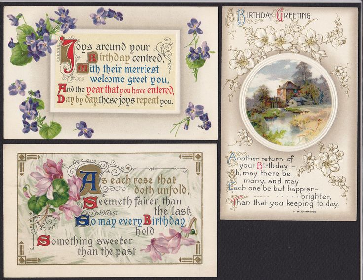 9 Birthday Greetings Flowers Scenic Victorian Embossed Antique Postcard Lot | eBay