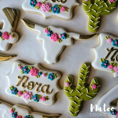 Boho Chic Floral Cactus Longhorn Skull 4th Birthday Decorated Cookies http://mateocookieco.com